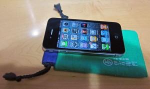 iPhone4と伊右衛門の豆巾着